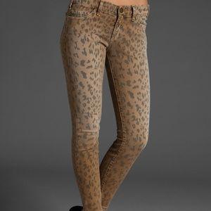Current/Elliot Stiletto Skinny Camel Leopard Jeans